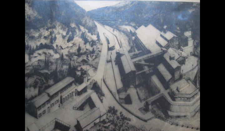 Miniera Torgola tavola assonometrica con disegno a china